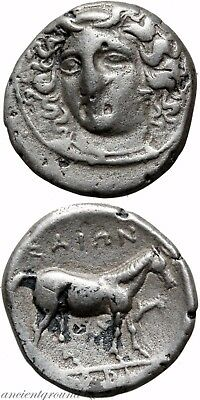 Ancient Greek Silver Dircham Coin Thessaly Larissa 05-370 Bc