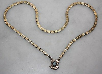 Antique Victorian Art Deco Gold Fill Cameo Bookchain Necklace