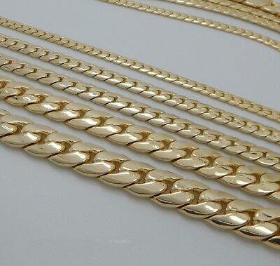 "Mens Miami Cuban link Chain 8"" 9"" 20"" 22"" 24"" 26"" 30"" inch 14K Gold Plated"