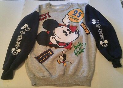 Vintage MICKEY MOUSE Disney 2 Sided SWEATSHIRT Hello Folks! 25 CENTS Black GREY