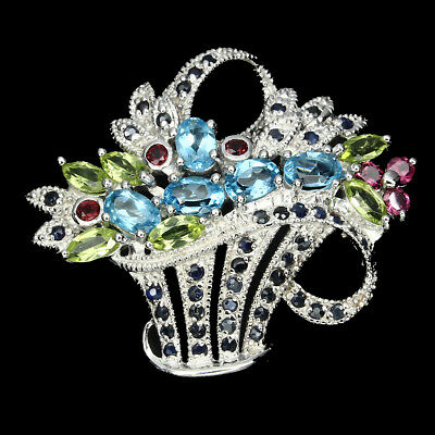 Gorgeous Top Swiss Blue Topaz Peridot Garnet Sapphire 925 Sterling Silver Brooch