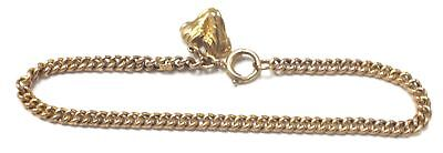 375 9ct YELLOW GOLD Curb Bracelet With Walking Boots Charm, 4.21g - P19