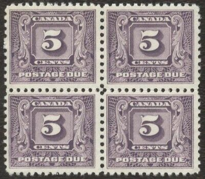 Stamps Canada # J9, 5¢ 1930-32, 1 block of 4 mint no gum stamps.