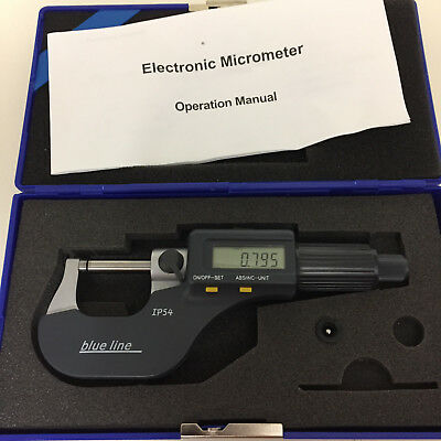 Digital Micrometer IP54 Rated Max 25mm in 0.001mm increments Boxed