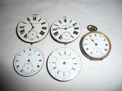 Collection of 4 Antique  Pocket  Watch Movements & Enigma Watch, Spares, Repair.