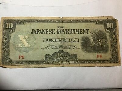 JAPANESE WWII Ovcupationa currency 10 Pesos circulated