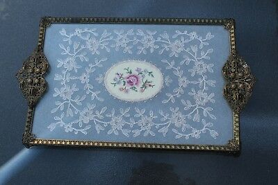 Pretty Vintage Petit Point Filigree Dressing Table Tray Embroidered Rectangle
