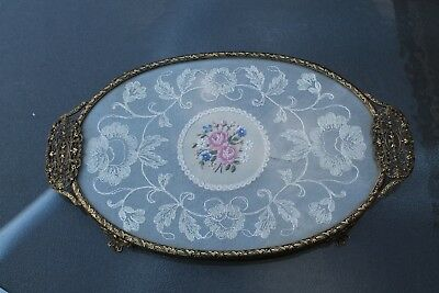 Pretty Vintage Petit Point Filigree Dressing Table Tray Embroidered Oval