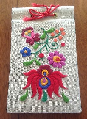 Vintage Crewel Embroidered Photo Album, Colourful Flowers, Frameable