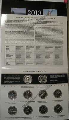 2013 P & D US Mint America the Beautiful Uncirculated 10 Coin Quarter Set N96
