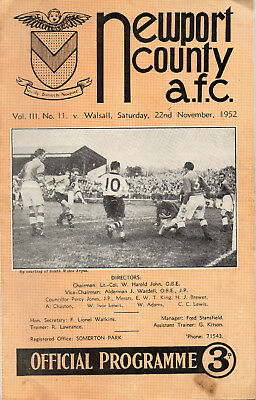 1952/53 Newport County v Walsall Football Programme