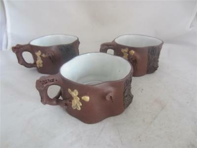 3 x CINESE YIXING RELIEF DECORATED CUPS