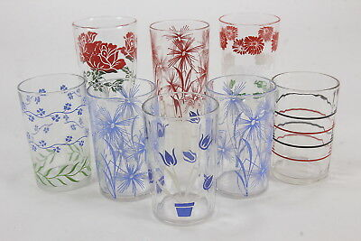8 Kraft Swanky Swig Juice Tumblers Variety Of Designs Cornflower, Forget-Me-Not