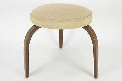 3-Legged Footstool Bent-Wood Legs Round Cushion Pad Upholstered Seat