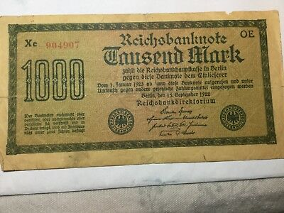 Germany 1-January-1923 1000 Mark Reichbanknote, circulated