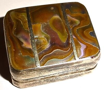 VINTAGE Mexico STERLING SILVER and ABALONE Artist Signed PILL BOX! NR!
