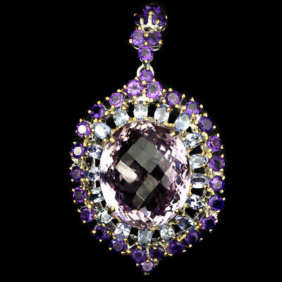 Glorious Handmade 34ct Ametrine Tanzanite Gems 925 Silver Big Pendant Brooch Nr