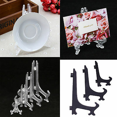 Plastic Clear Display Easel Plate Stand Bowl Picture Frame Photo Pedestal Holder