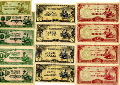 Burma Japanese Govt WWII 1/2-1-5-10 Rupees 1942-44 P-13,14,15,16 (22 pcs)