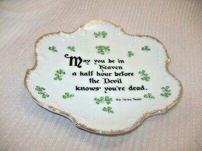 Vintage Traditional  Irish Toast or Blessing Porcelain Wall Plate Shamrocks ~9H7