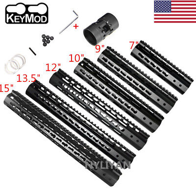 "US 7""/9""/10""/12""/13.5""/15"" Ultralight Slim Free Float KeyMod Handguard Rail&Nut"
