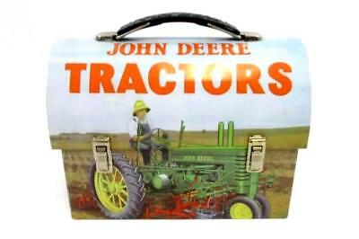 John Deere Metal Tin Tractors Lunch Box Pail Farmer on Tracker Moline Ill