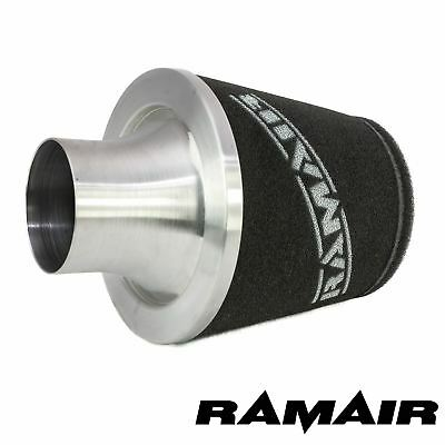 Ramair Silver 150Mm Base Aluminium Induction Air Filter Universal 90Mm Od Neck