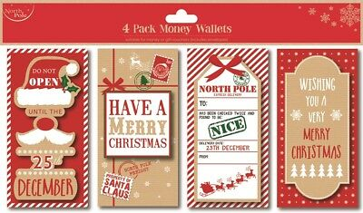 Pack Of 4 Christmas Money Wallets & Envelopes Traditional Kraft Brown Red Foiled