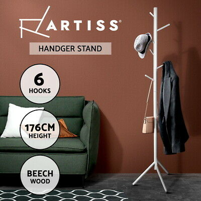 Artiss Wooden Coat Stand Rack Clothes Hanger 6 Hook Hat Jacket Bag 176cm White