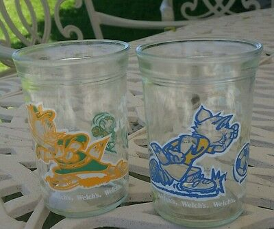 Welch's 1991 Jelly Jar Glass Tom and Jerry Drinking Glasses soccer baseball