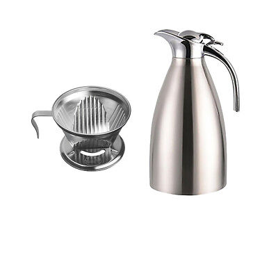 2L Insulated Double layer Coffee Water Jug Thermal + Dripper Maker Holder