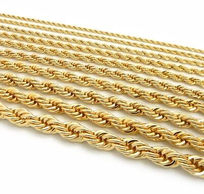 """Gold Rope Chain Necklace 2.5mm to 10mm Width 18"""" 20"""" 22"""" 24"""" 26"""" 30"""" 14k Plated"""