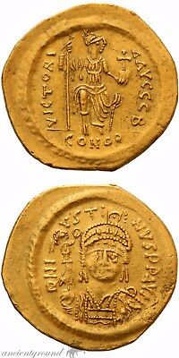 Byzantine Gold Solidus Coin Justin Ii Constantinople Victoria Avggg S 565-578 Ad
