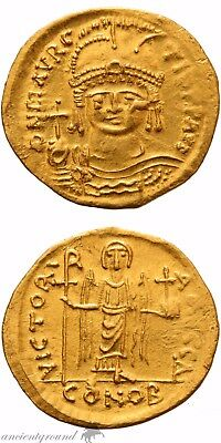 Maurice Tiberius Gold Solidus Coin Byzantine Constantinople Xf 582-602 Ad Coins & Paper Money