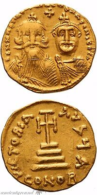 Byzantine Gold Solidus Coin Heraclius Constantinople 610-641 Ad