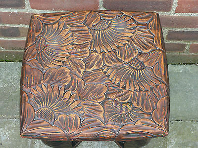 Vintage Antique Hand Carved Square Floral Wood Table Coffee Table