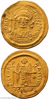 Byzantine Gold Solidus Coin Justinian I Constantinople Struck 527-538 Ad