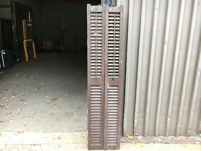"""PaiR victorian louvered house window SHUTTERS worn PAINT SURFACE 69.5""""h x 8.25""""w"""
