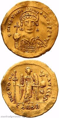 Byzantine Gold Solidus Coin Justinian I  527-565 Ad Victoria Avggg A/conob