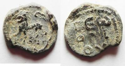 ZURQIEH -AA8686- BYZANTINE. 5th-6th century AD. Lead seal (21 mm, 7.71g). Lion a