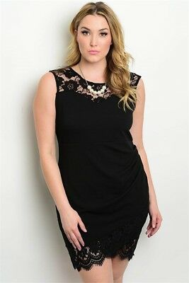 WOMEN\'S PLUS SIZE Black Bodycon Dress with Lace Accents Ruched Side 2XL NEW