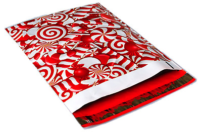 100 10x13 Red Candy Cane Christmas Designer Poly Mailers Envelopes Bags