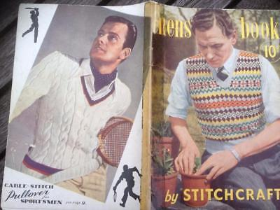 Vintage Mens Book by Stitchcraft Knitting Patterns Fair Isle Pullovers, Socks