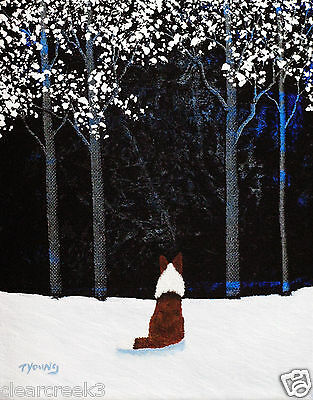 Red ROUGH COLLIE Border Sheltie Dog Winter Art PRINT Todd Young SNOWY FOREST