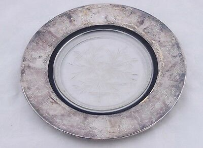 """Vintage Glass & Sterling Silver Overlay Plate Dish 10.5"""" Roman Style"""