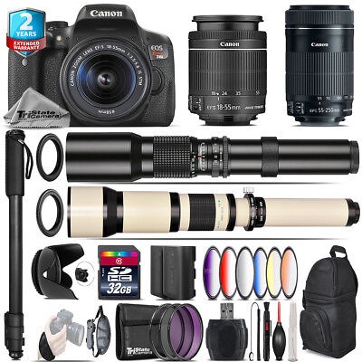 Canon EOS Rebel T6i + 18-55mm IS STM + 55-250mm IS STM + 9PC Filter - 32GB Kit