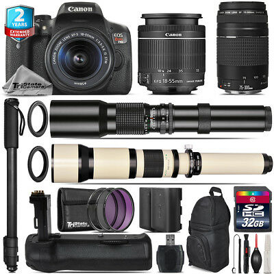 Canon EOS Rebel T6i + 18-55mm IS STM + 75-300mm III + Battery Grip - 32GB Kit