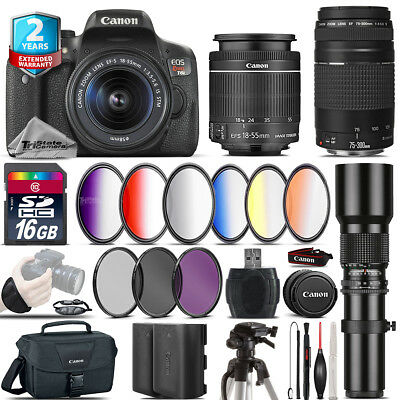 Canon EOS Rebel T6i + 18-55mm IS STM + 75-300mm III + Extra Battery - 16GB Kit