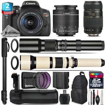 Canon EOS Rebel T6i + 18-55mm IS STM + Tamron 70-300mm + Battery Grip - 32GB Kit