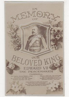 In Memory Of Our Beloved King Edward VII The Peacemaker RP Postcard, B385